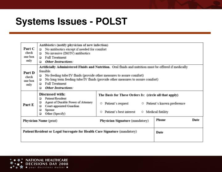 Systems Issues - POLST