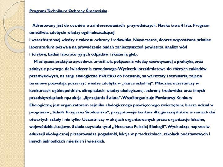 Program Technikum Ochrony Środowiska