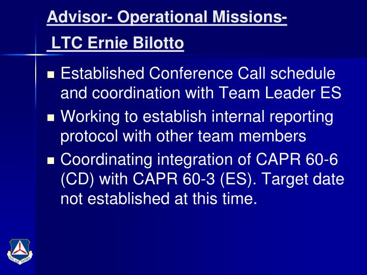 Advisor- Operational Missions-