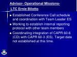 advisor operational missions ltc ernie bilotto