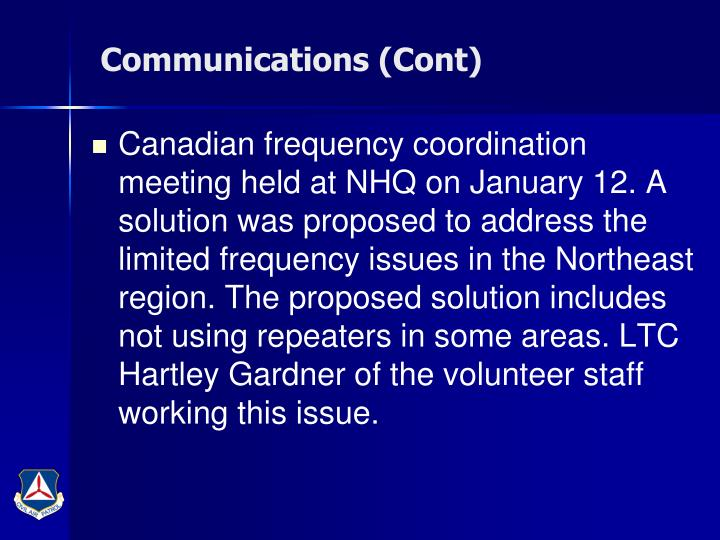 Communications (Cont)
