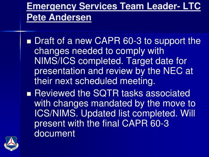 Emergency Services Team Leader- LTC Pete Andersen