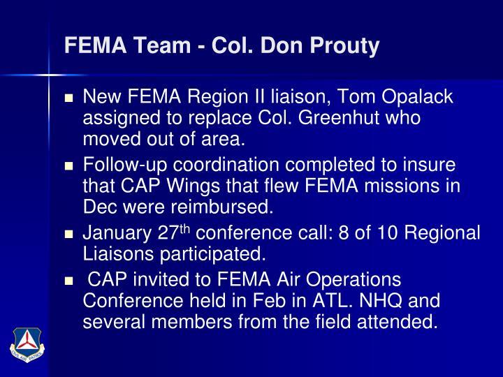FEMA Team - Col. Don Prouty