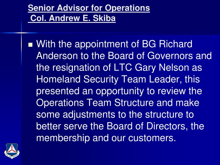 Senior Advisor for Operations