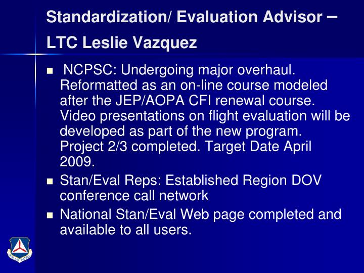 Standardization/ Evaluation Advisor