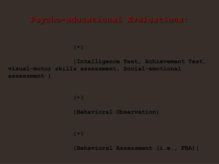 Psycho-educational Evaluations:
