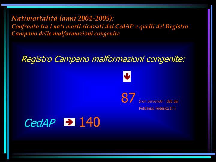 Natimortalità (anni 2004-2005)