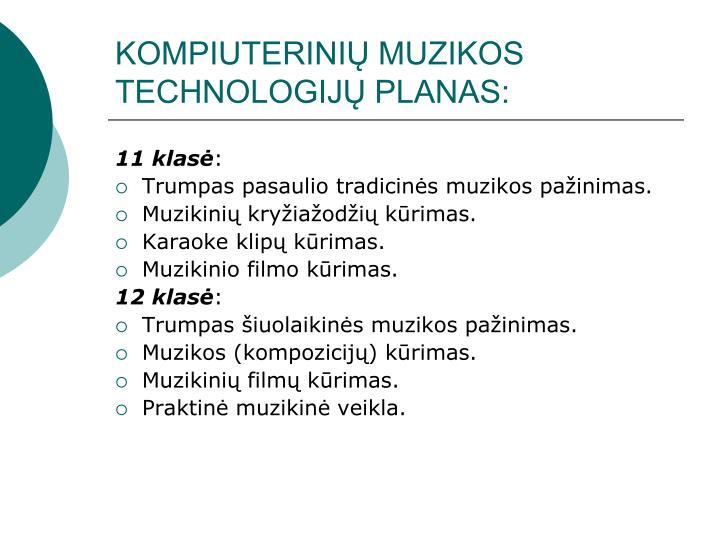 KOMPIUTERINIŲ MUZIKOS TECHNOLOGIJŲ PLANAS: