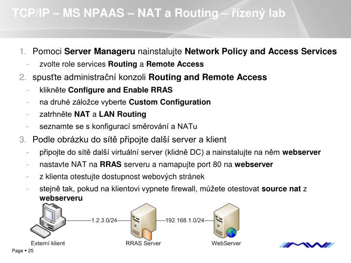 TCP/IP – MS NPAAS – NAT a Routing – řízený lab