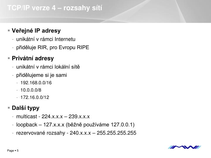 TCP/IP verze 4 – rozsahy sítí