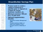 dreambuilder savings plan