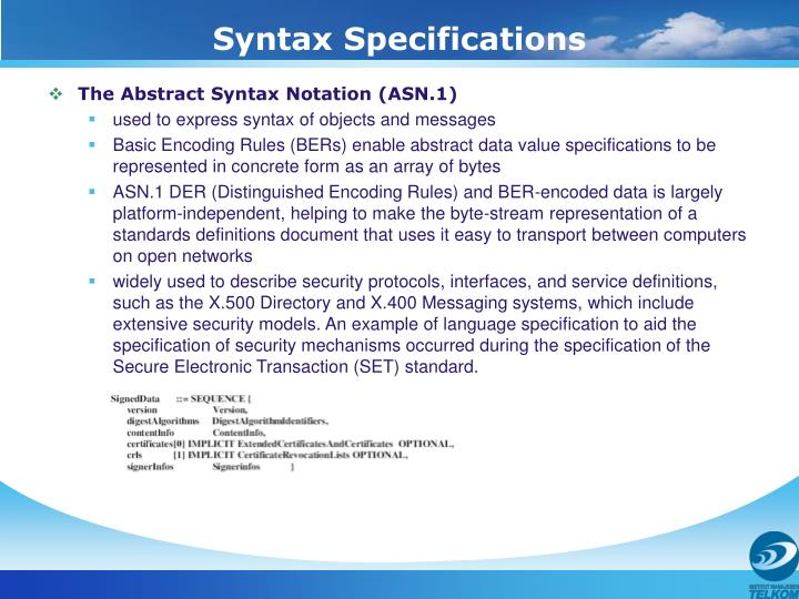 Syntax Specifications