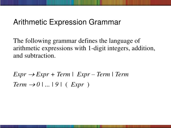 The following grammar defines the language of arithmetic expressions with 1-digit integers, addition, and subtraction.