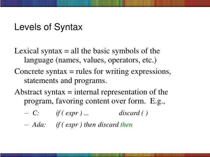 Levels of Syntax