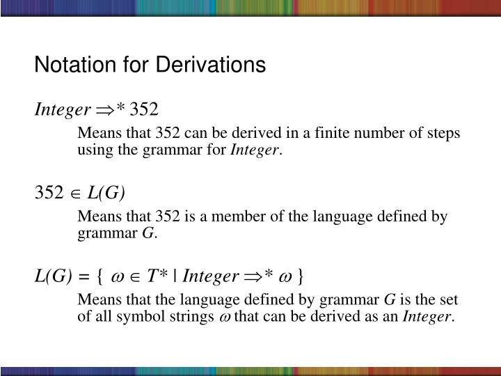 Notation for Derivations