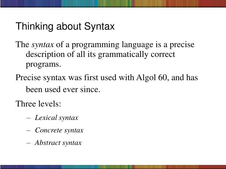 Thinking about Syntax