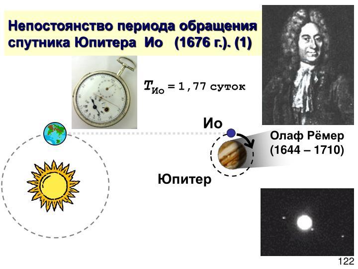 Непостоянство периода обращения спутника Юпитера  Ио   (1676 г.). (1)