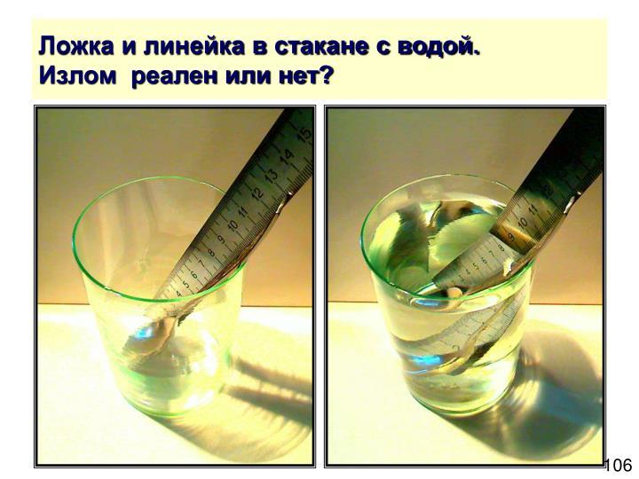 Ложка и линейка в стакане с водой.
