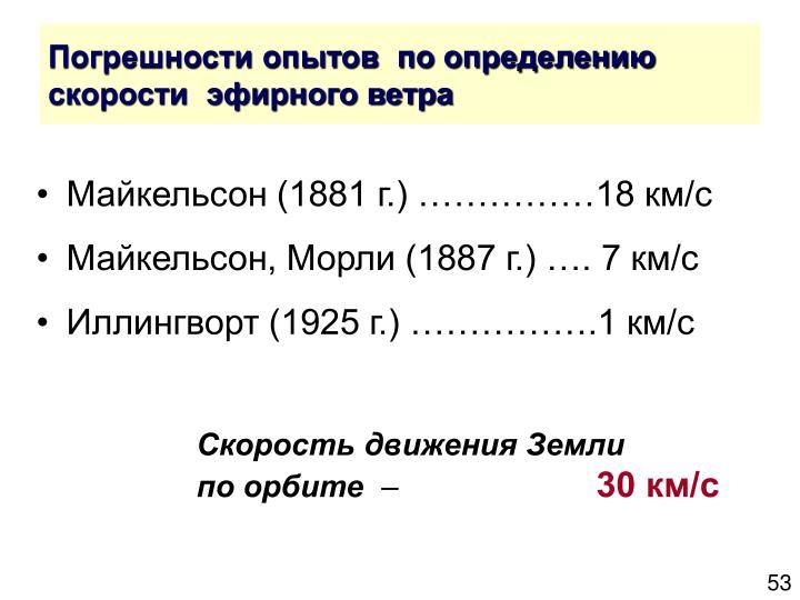 Погрешности опытов  по определению скорости  эфирного ветра
