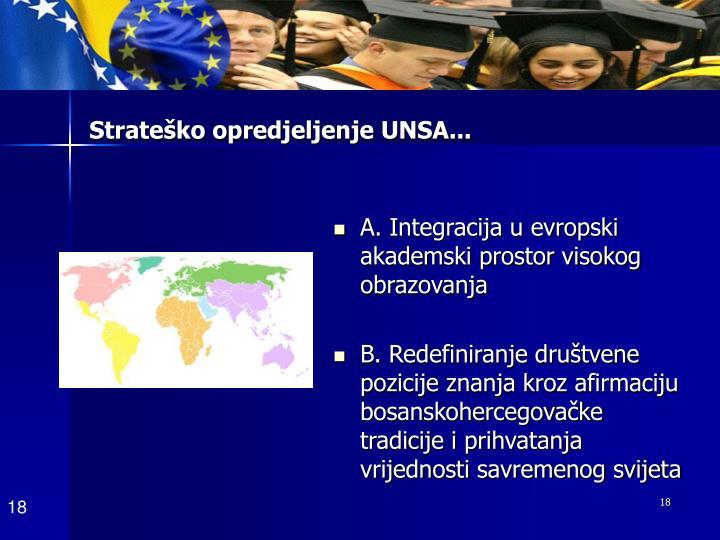 Strateško opredjeljenje UNSA...