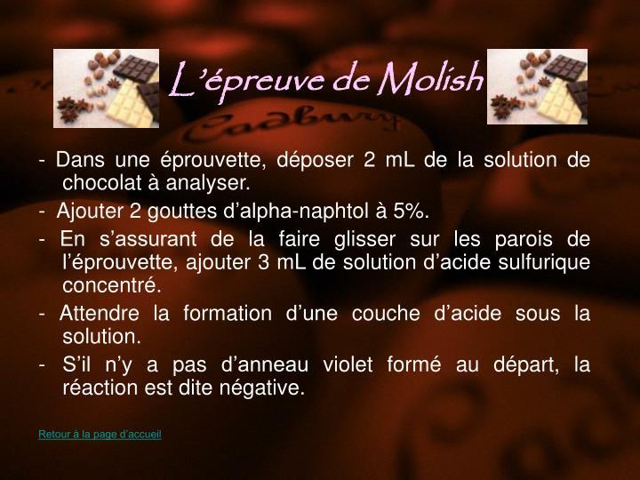 L'épreuve de Molish