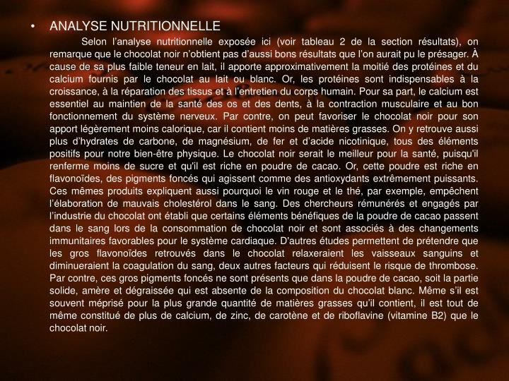 ANALYSE NUTRITIONNELLE