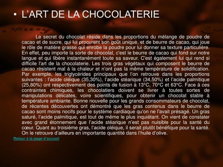 LART DE LA CHOCOLATERIE