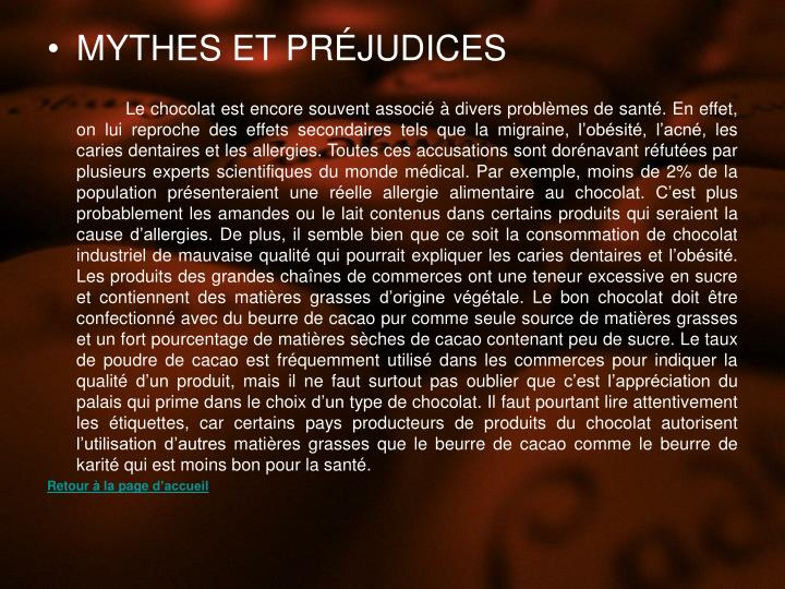 MYTHES ET PRJUDICES