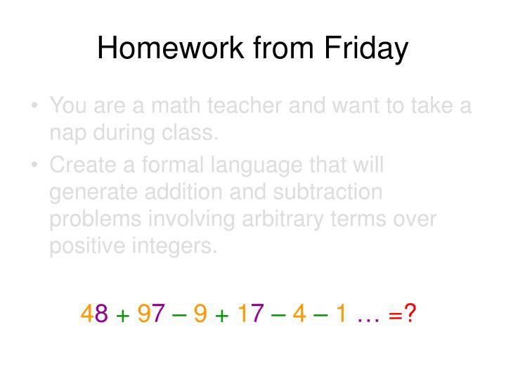 Homework from Friday