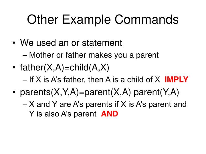 Other Example Commands