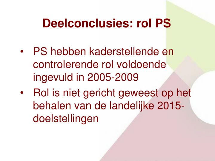 Deelconclusies: rol PS