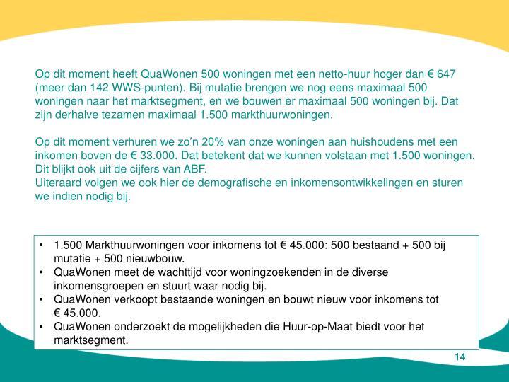 Op dit moment heeft QuaWonen 500 woningen met een netto-huur hoger dan € 647 (meer dan 142 WWS-punten). Bij mutatie brengen we nog eens maximaal 500 woningen naar het marktsegment, en we bouwen er maximaal 500 woningen bij. Dat zijn derhalve tezamen maximaal 1.500 markthuurwoningen.