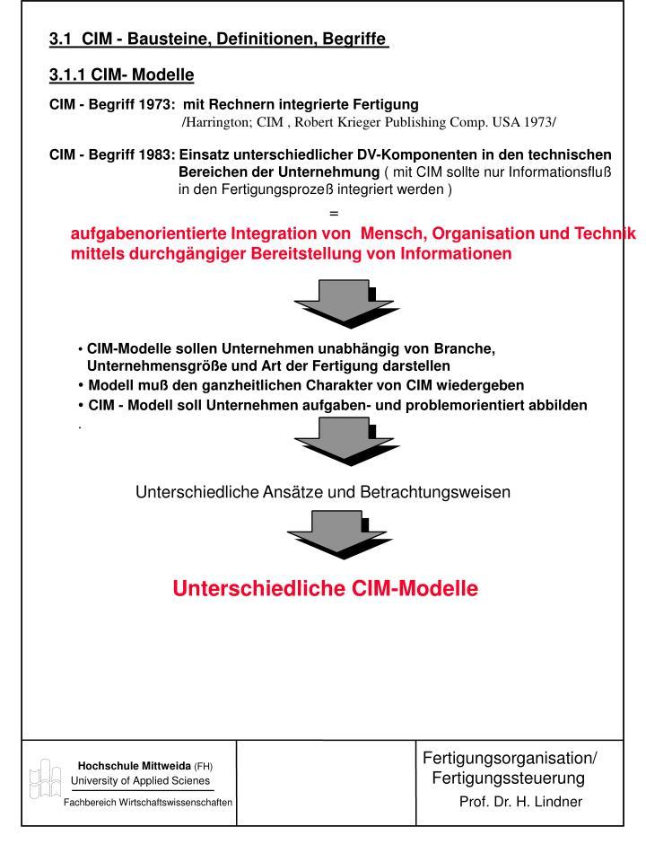 3.1  CIM - Bausteine, Definitionen, Begriffe