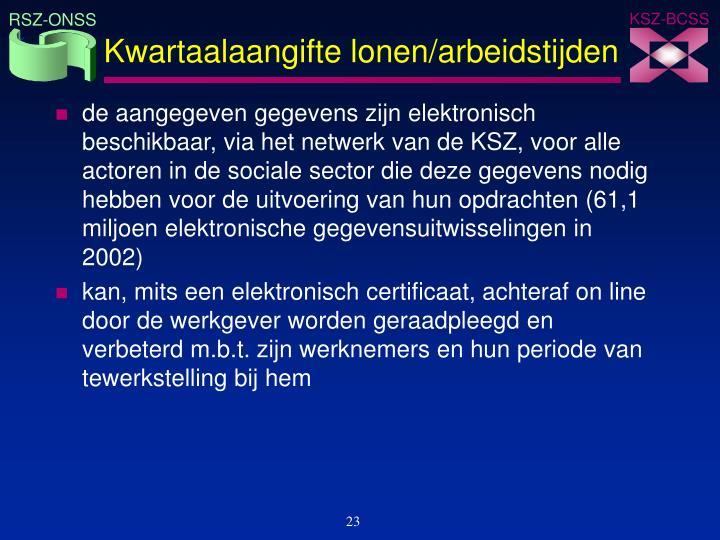 Kwartaalaangifte lonen/arbeidstijden