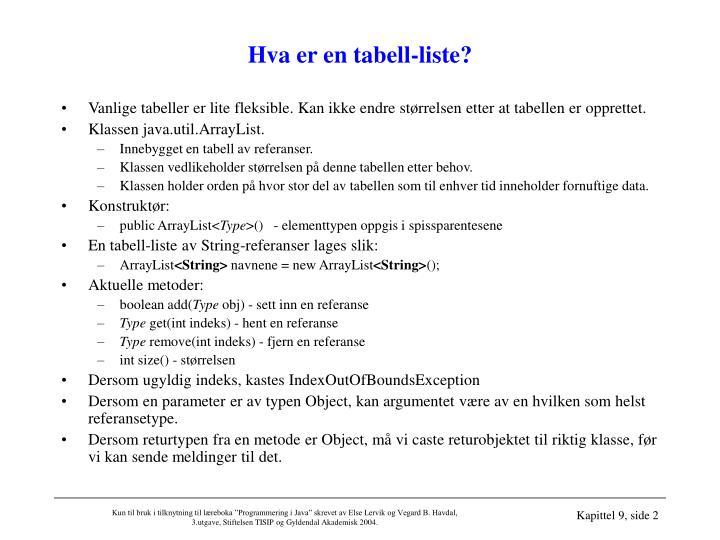 Hva er en tabell-liste?