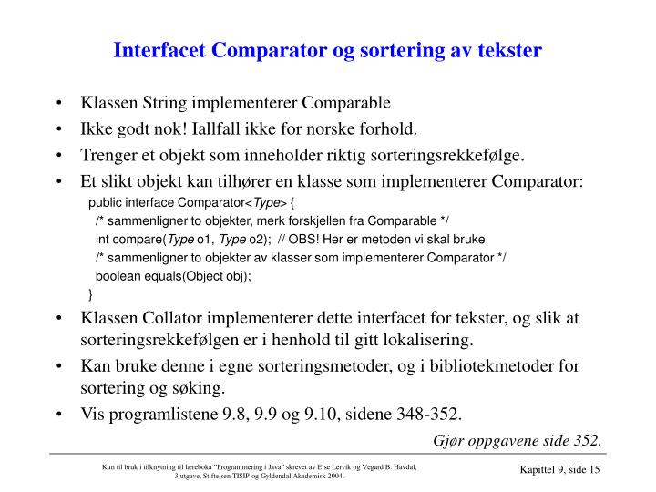 Interfacet Comparator og sortering av tekster