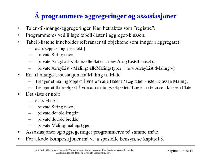 Å programmere aggregeringer og assosiasjoner