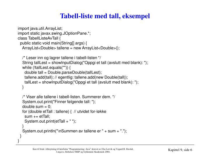Tabell-liste med tall, eksempel