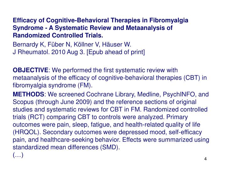 Efficacy of Cognitive-Behavioral Therapies in Fibromyalgia Syndrome - A Systematic