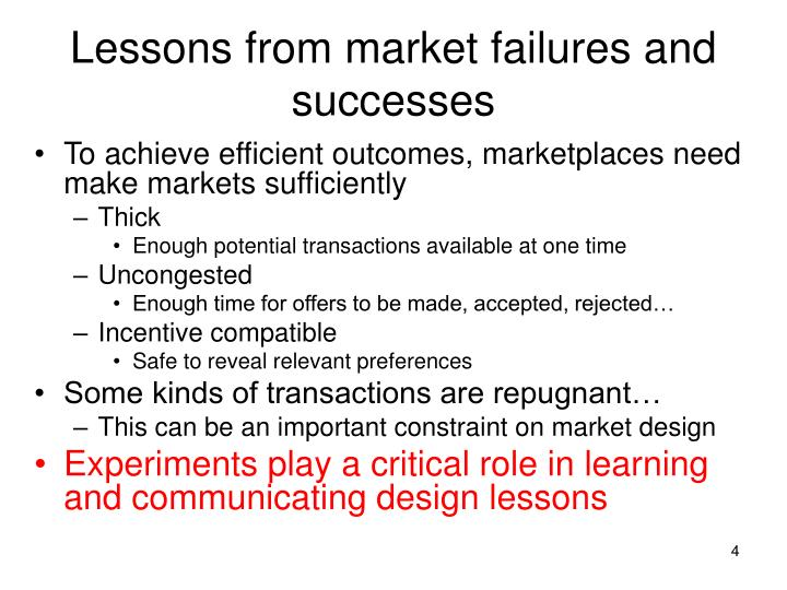 Lessons from market failures and successes