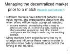 managing the decentralized market prior to a match niederle and roth 2007