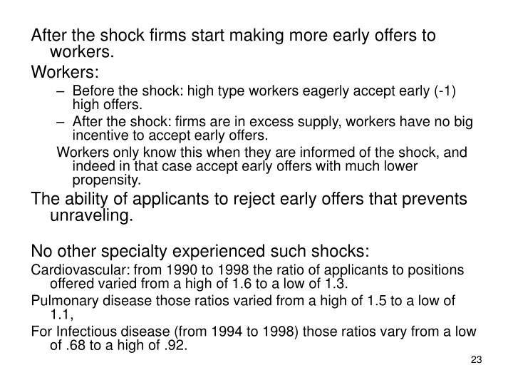 After the shock firms start making more early offers to workers.