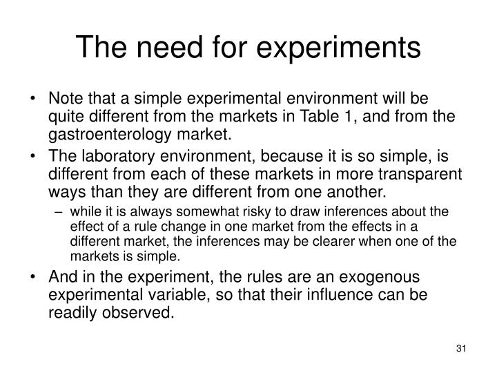 The need for experiments