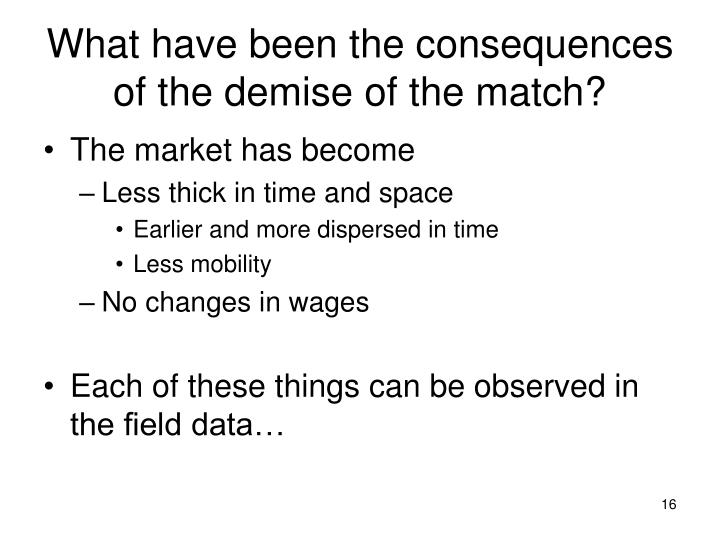 What have been the consequences of the demise of the match?