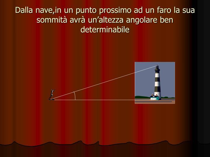 Dalla nave,in un punto prossimo ad un faro la sua sommità avrà un'altezza angolare ben determinabile