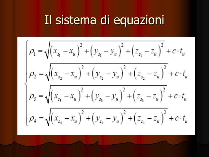 Il sistema di equazioni