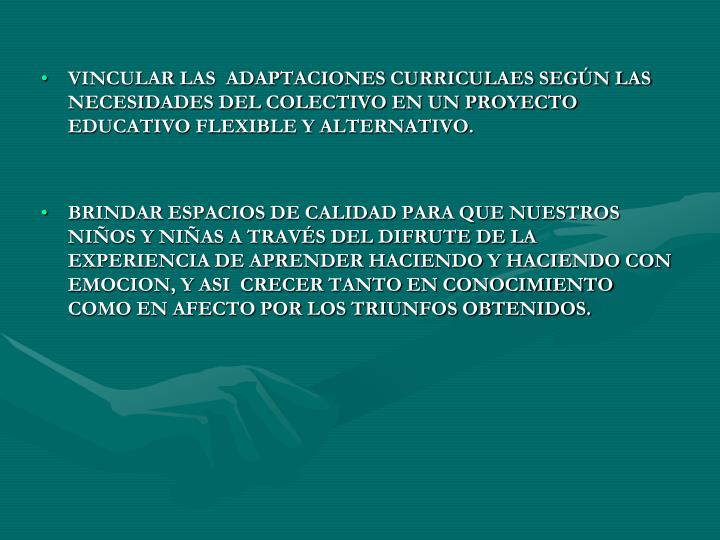 VINCULAR LAS  ADAPTACIONES CURRICULAES SEGÚN LAS NECESIDADES DEL COLECTIVO EN UN PROYECTO EDUCATIVO FLEXIBLE Y ALTERNATIVO.