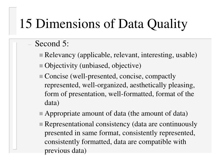 15 Dimensions of Data Quality