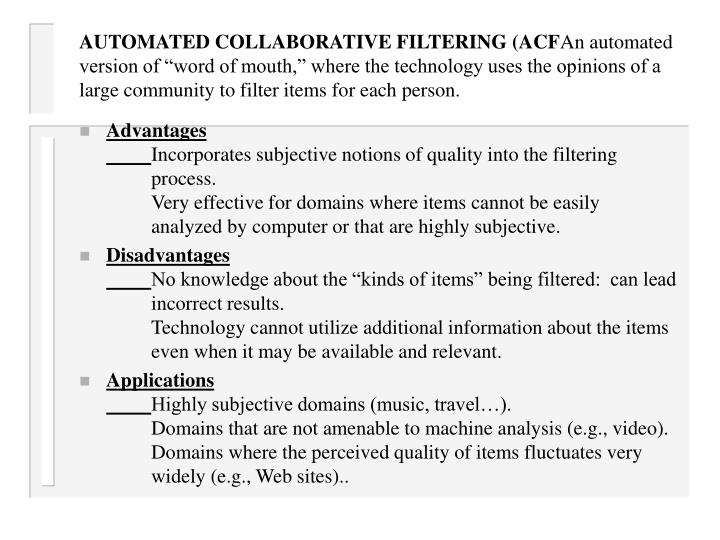 AUTOMATED COLLABORATIVE FILTERING (ACF