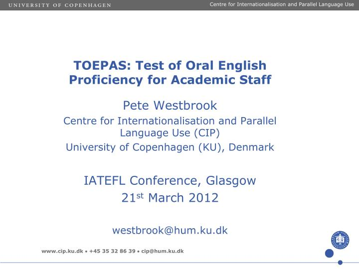 Toepas test of oral english proficiency for academic staff